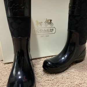 Black Coach Rainboots. Size 8.